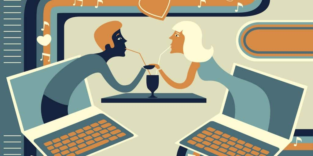Cartoon image of couple that is online dating
