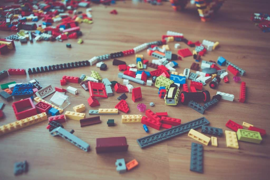 lego pieces scattered on floor